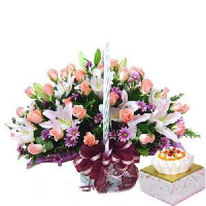 Rose Basket & Cake
