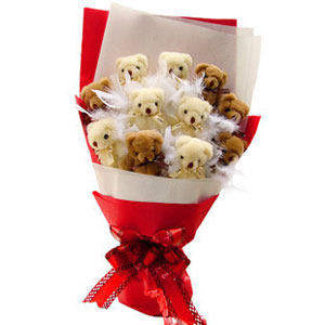 ID:4597-Lovely bear bouquet A
